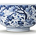 A large blue and white 'Squirrel and Grape' bowl, Mark and period of Kangxi (1662-1722)