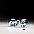 Petite théière couverte & petit pot à anse en porcelaine bleu blanc, chine, dynastie qing, époque kangxi