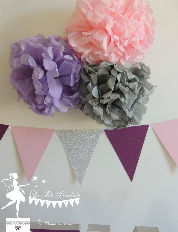 pompon decoration guirlande fanion bapteme mariage baby shower anniversaire mauve gris rose