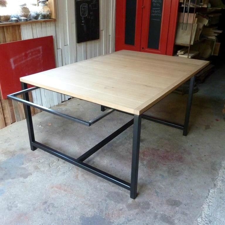 Table 120x120 rallonges 50x120 x2 table g ante 120x220 for Petite table a rallonge