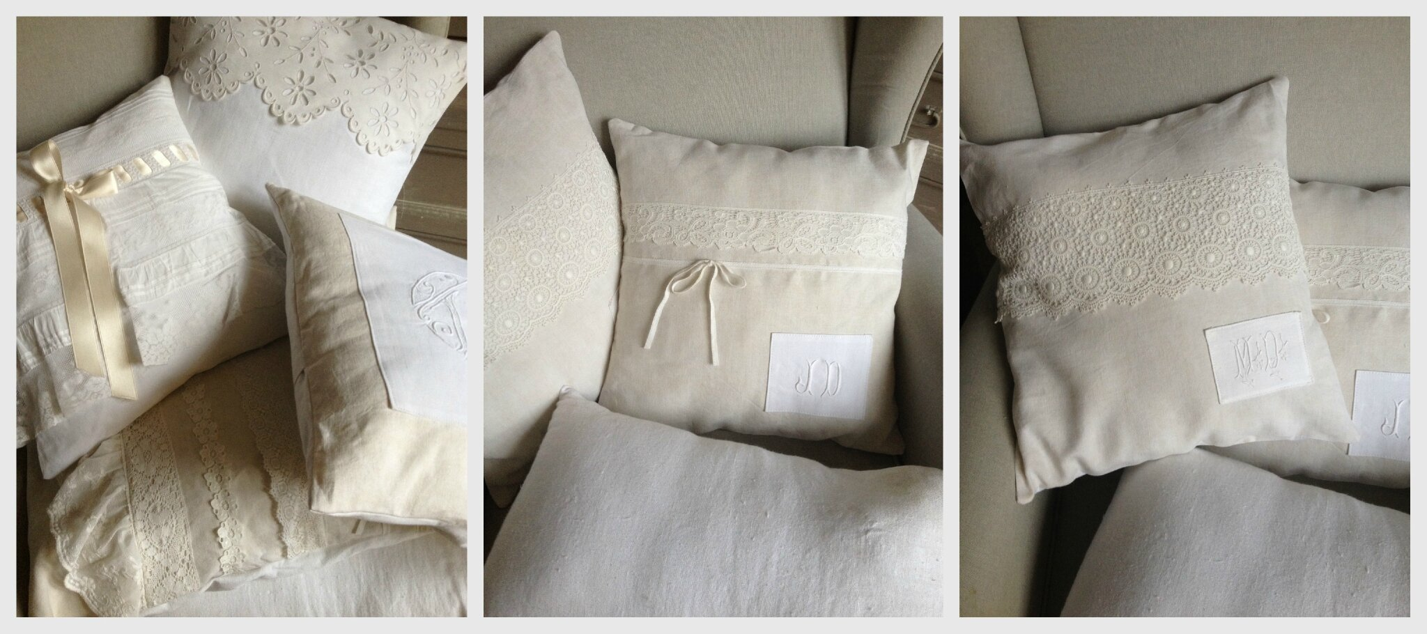 coussin lin et monogramme blanc poudr boutique. Black Bedroom Furniture Sets. Home Design Ideas