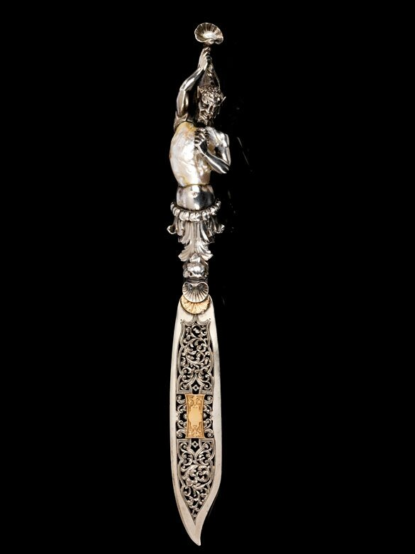Satyr-shaped paper knife with natural pearl