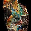 Azurite, pietersite, opal, malachite