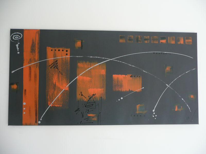 Tableau contemporain fond gris d co orange et noir l 39 orangeraie l art contemporain for Peinture chambre orange et gris