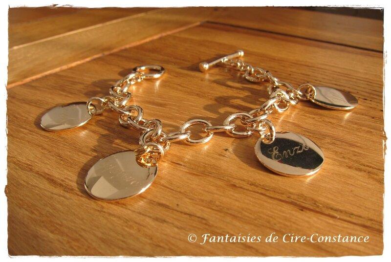 Bracelet mailles rondes plaqué or médailles gravées joaillerie-2