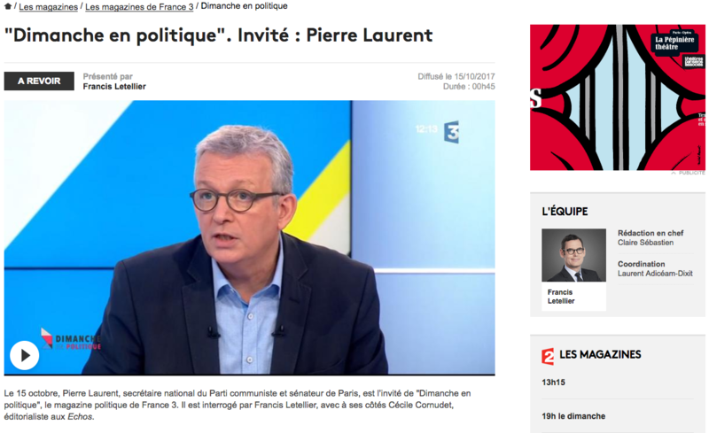 DIMANCHE EN POLITIQUE PIERRE LAURENT