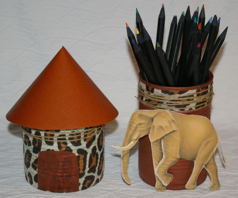 Berühmt pot à crayons et vide poche sur le thème de l'Afrique - Album  BG42