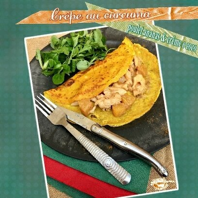crepe au curcuma poulet ananas coco (SCRAP)