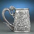 Chinese Garden Export Silver Tankard