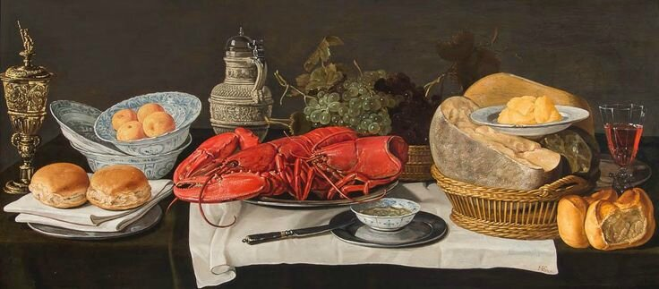 Hans van Essen, A Pronk Still-Life with a goblet, bread rolls, tangerines in a China bowls, lobsters on a pewter plate, grapes..