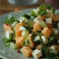 Le melon et le concombre aiment bien la feta, la coriandre et le poivre 5 baies aussi !