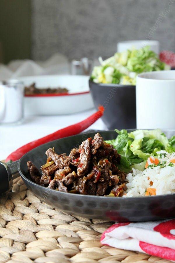 Boeuf séché à la chinoise au wok
