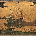 Paravent à deux feuilles sur fond or, japon, xviie - xviiie siècle