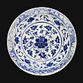 A timurid blue and white pottery dish with floral design, persia, 15th century
