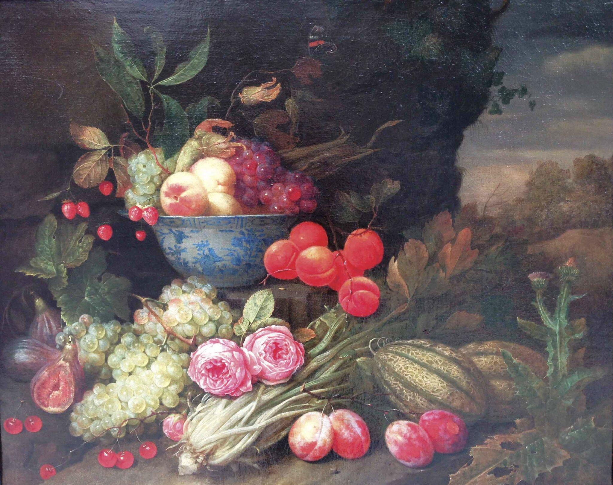 Jan Pauwel Gillemans (1618-1675), Fruits et roses dans un paysage avec un bol Wanli