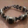 Bracelet strass rectangles noirs et toupies