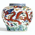 A finely enamelled Wucai 'Dragon' Jar, Mark and period of Wanli (1573-1620)