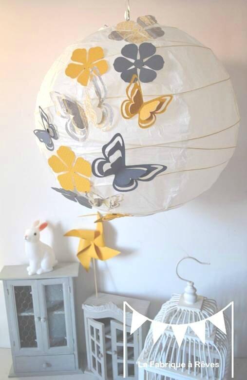 luminaire envolée papillons hibou étoiles jaune gris blanc