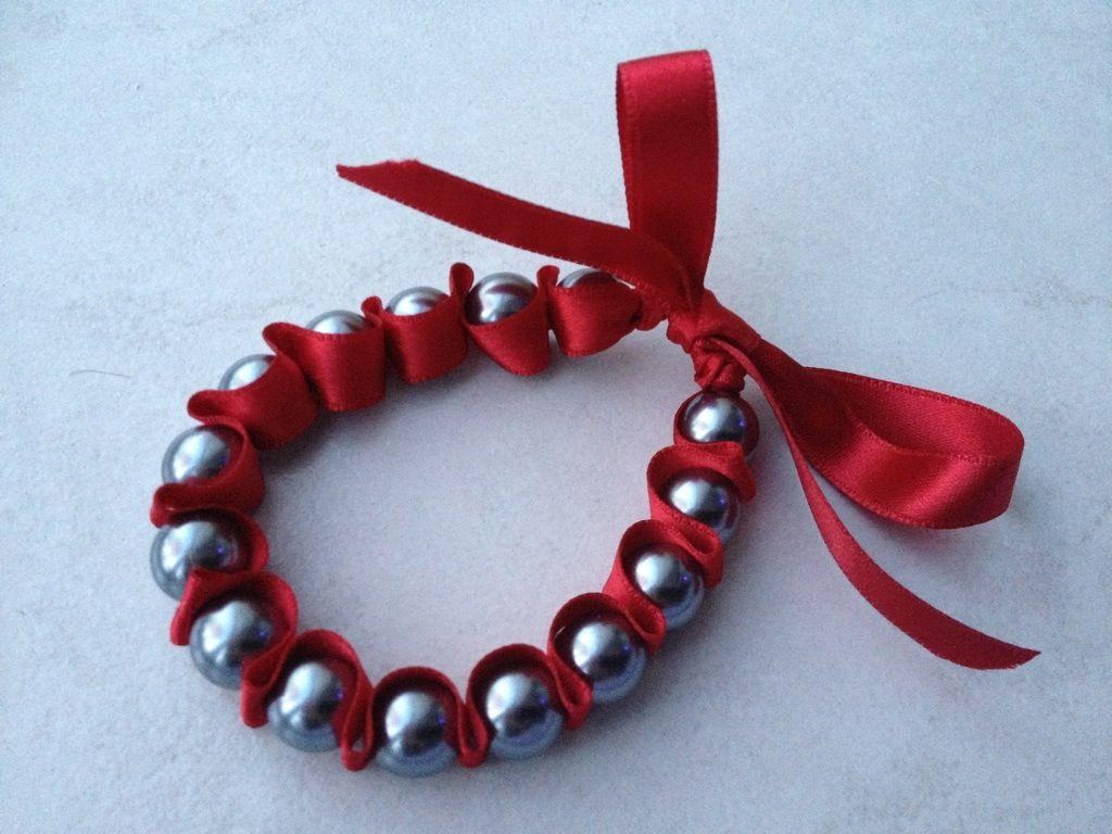 Bracelet ruban - Bracelet perle et ruban ...
