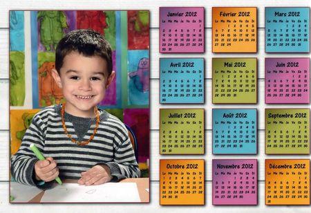 calendrier Adriel à l'école re