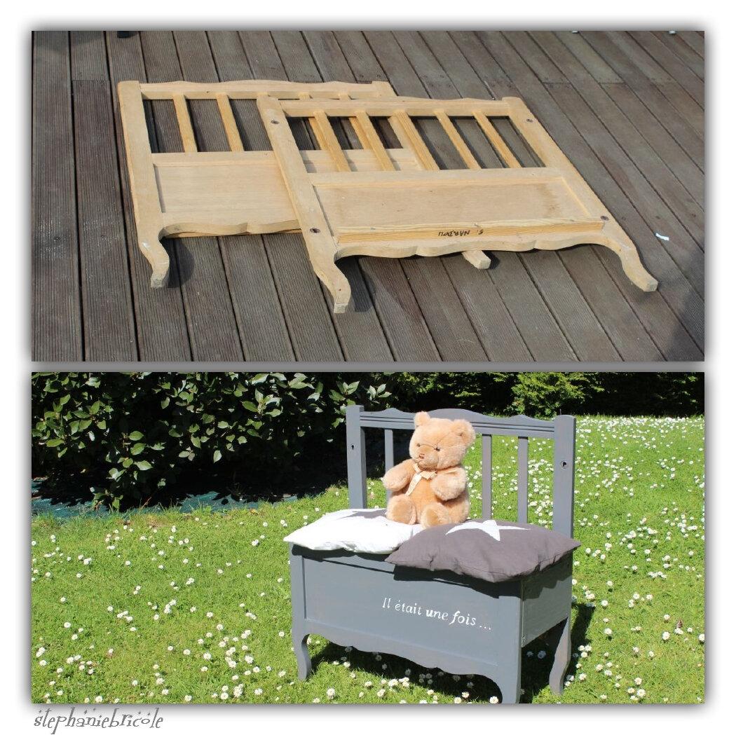Faire un banc enfant avec un cadre de lit r cup st phanie bricole - Cadre de lit avec coffre ...