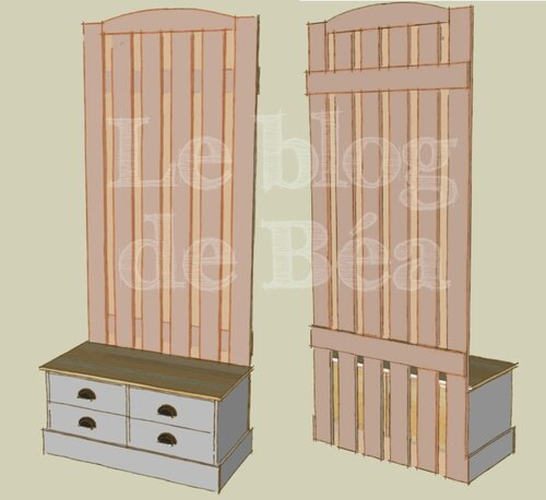 diy vestiaire d 39 entr e en bois de palettes et m dium le. Black Bedroom Furniture Sets. Home Design Ideas