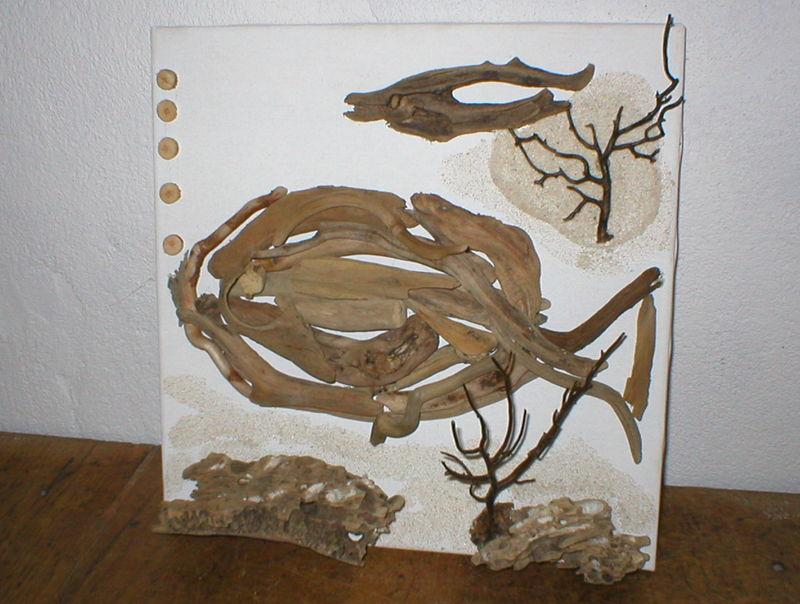 tableau fait de collage de bois flott s les cr ations en bois flott et tissu de miss soleil. Black Bedroom Furniture Sets. Home Design Ideas