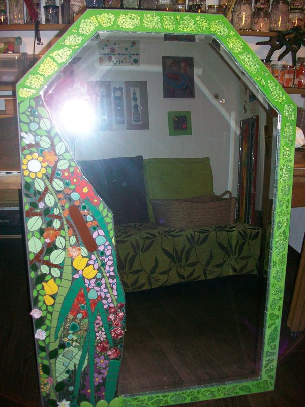 miroir en gerbe fleurie atelier mosa que g mozac. Black Bedroom Furniture Sets. Home Design Ideas