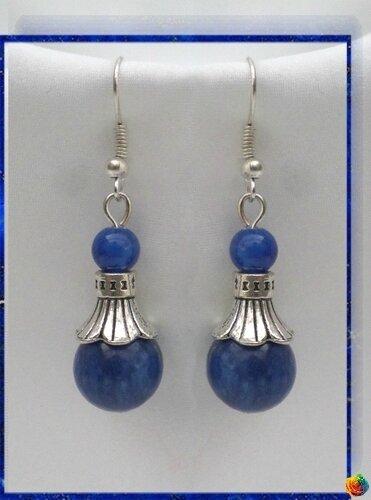 Boucles d'Oreilles Style Tibétain Siva Perles Lapis Lazuli 10 et 4 mm Argent Du Tibet