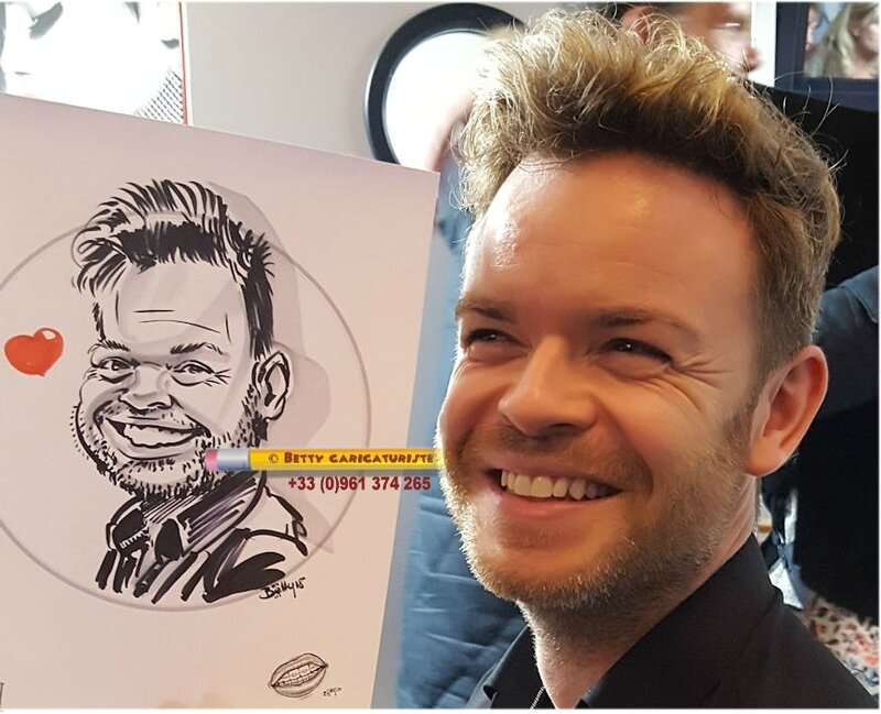 caricature homme montmartre coiffeur paris caricaturiste betty 0658265891