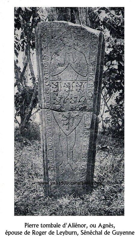 Pierre tombale d'Aliénor épouse Leyburn