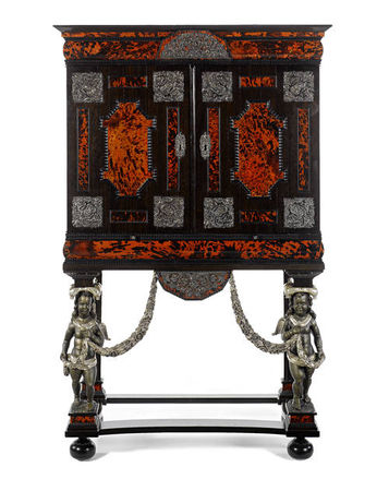 A_Flemish_late_17th_century_pewter_and_ivory_inlaid_and_silvered_mounted_tortoiseshell__ebony_and_rosewood_cabinet_on_stand