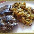 Foie de broutard à la compotée d'oignon, potiron et patates