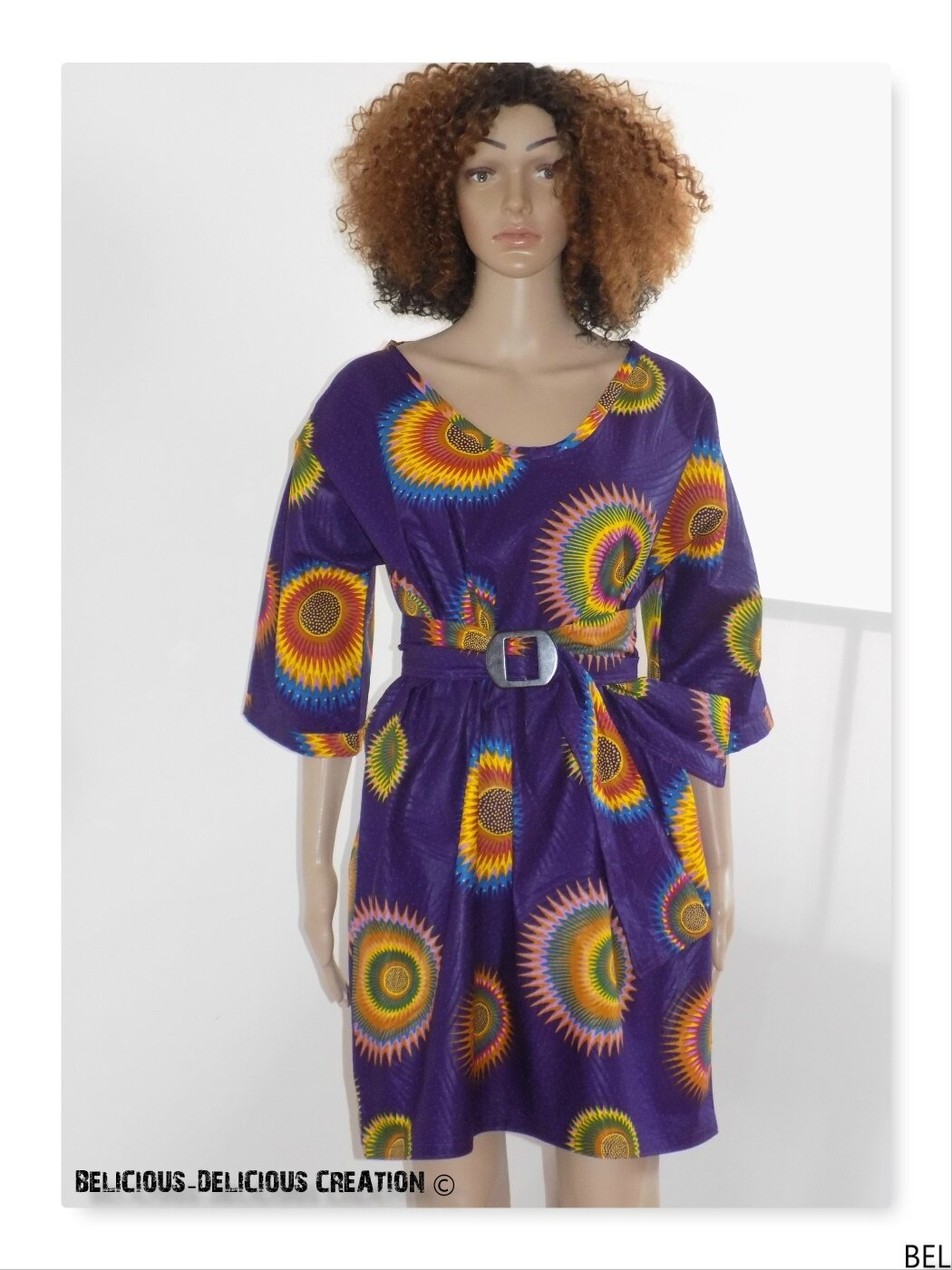 Originale Robe !! KIMONO WAX !! en coton multicolore Taille: 38/40 Long 89cm BELICIOUS-DELICIOUS-CREATION