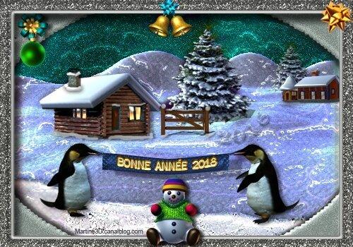 026-Carte-bonne-année-2018-bonhomme-neige-pingouins