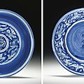 A rare reverse-decorated blue and white dish , Jiajing six-character mark in underglaze blue and of the period (1522-1566). Photo Christie's Image Ltd 2008