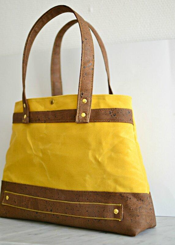cabas femme coton enduit waxed canvas et cuir de liege