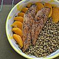 Salade de lentilles à l'orange et poisson fumé