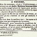 1837 14 avril : mise en vente de la propriété mauclerc-lescot
