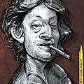 Caricature serge gainsbourg, l'homme à la tête de chou - betty caricaturiste