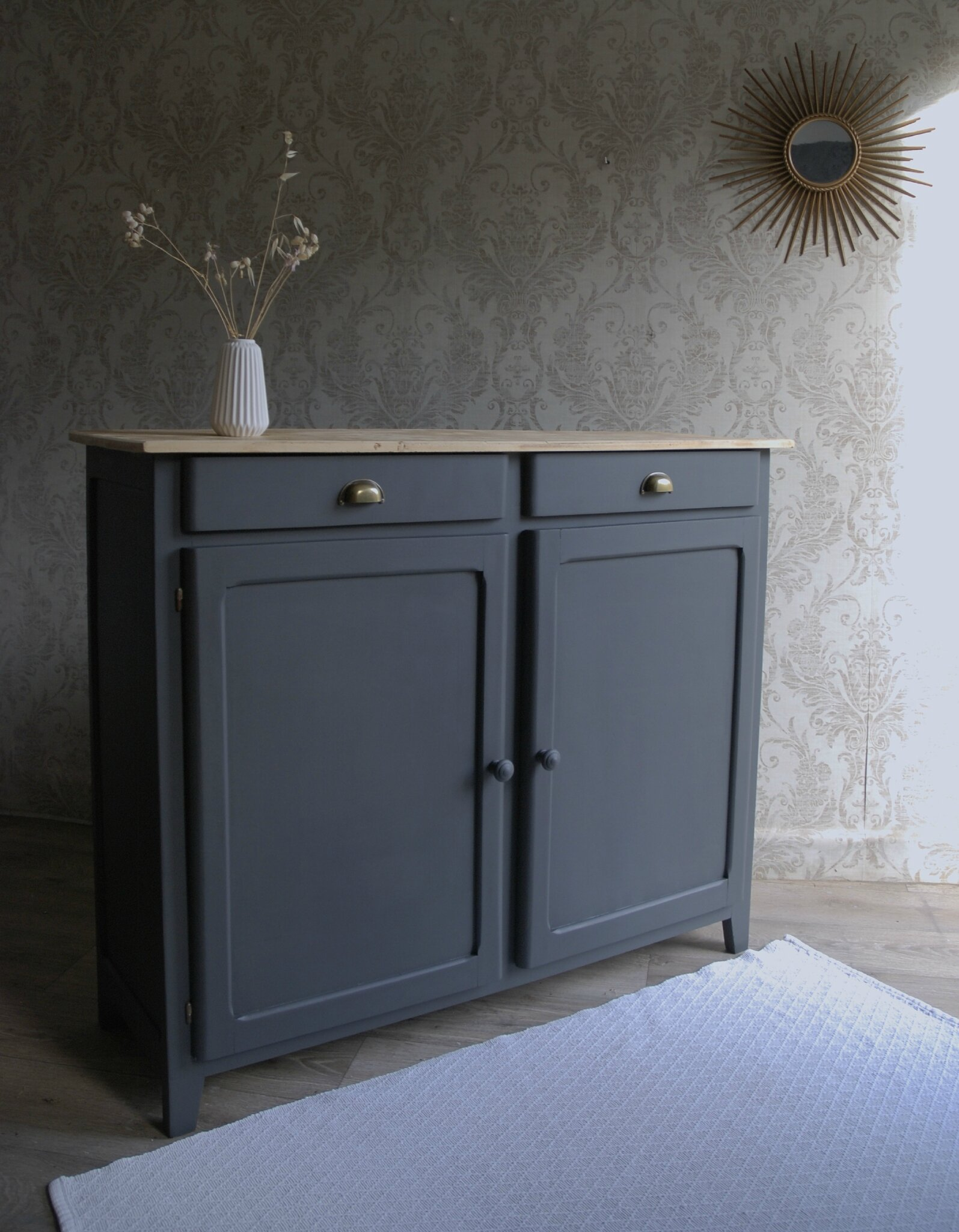 grand buffet gris charbon vendu atelier vintage. Black Bedroom Furniture Sets. Home Design Ideas