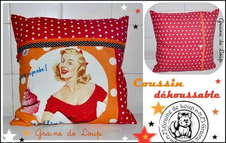 Coussin retro orange&rouge carré 35x35 déhoussable