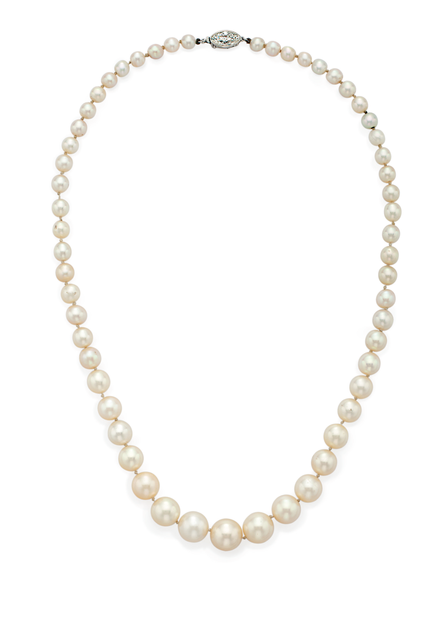 An Art Deco natural pearl and diamond necklace, by Cartier