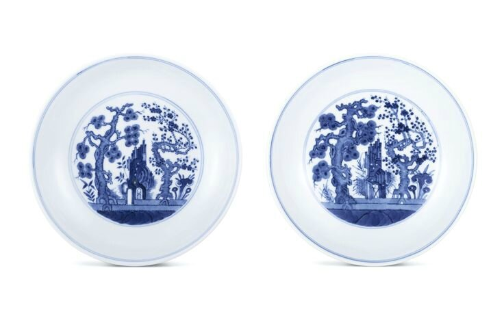 A pair of blue and white 'Three Friends' dishes, Marks and period of Tongzhi