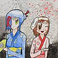 Aquarelle: kura et fuyoha - festival o-bon