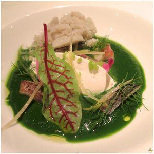Velouté d'herbes glacé, maquereau et anguilles fumées, sorbet à l'huître (1)