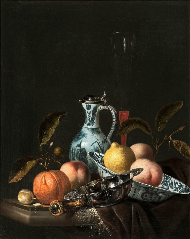 Juriaan van Streeck (1632 - Amsterdam 1687), Still Life with fruits and Chinese Porcelain