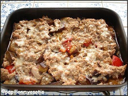 aubergines et tomates au thon