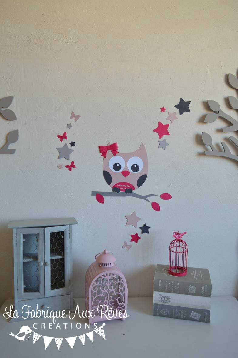 Stickers hibou toiles papillon rose poudr rose fuchsia framboise gris d coration chambre for Decoration chambre bebe hibou