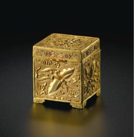 A_RARE_SMALL_GOLD_SQUARE__BUTTERFLIES__BOX